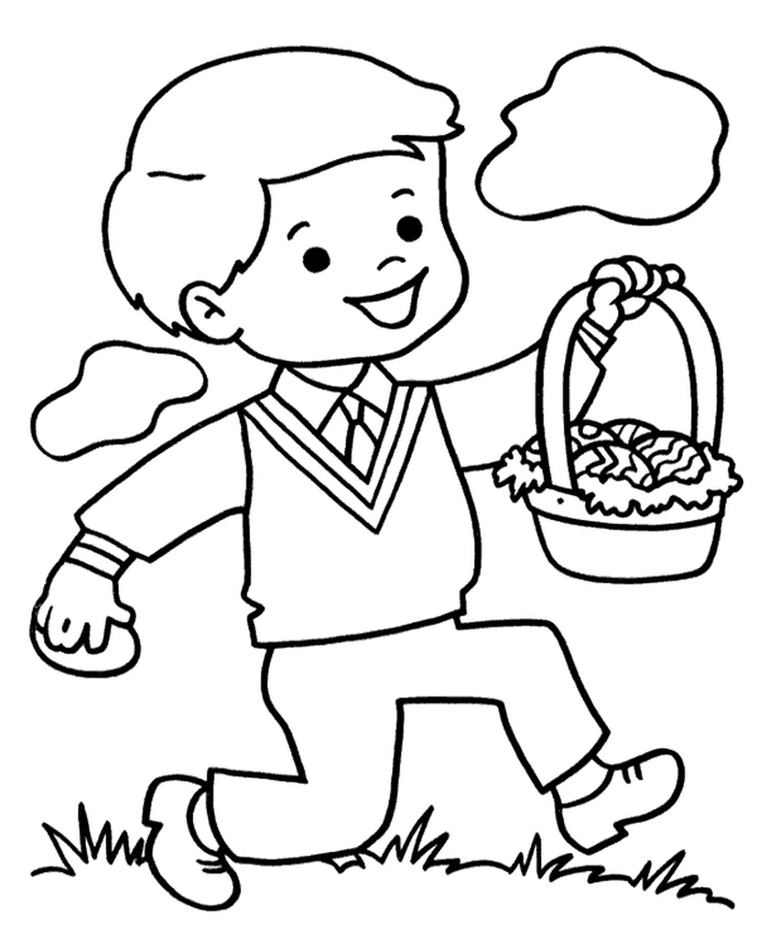 A Boy Carrying Easter Basket Full Of Easter Eggs