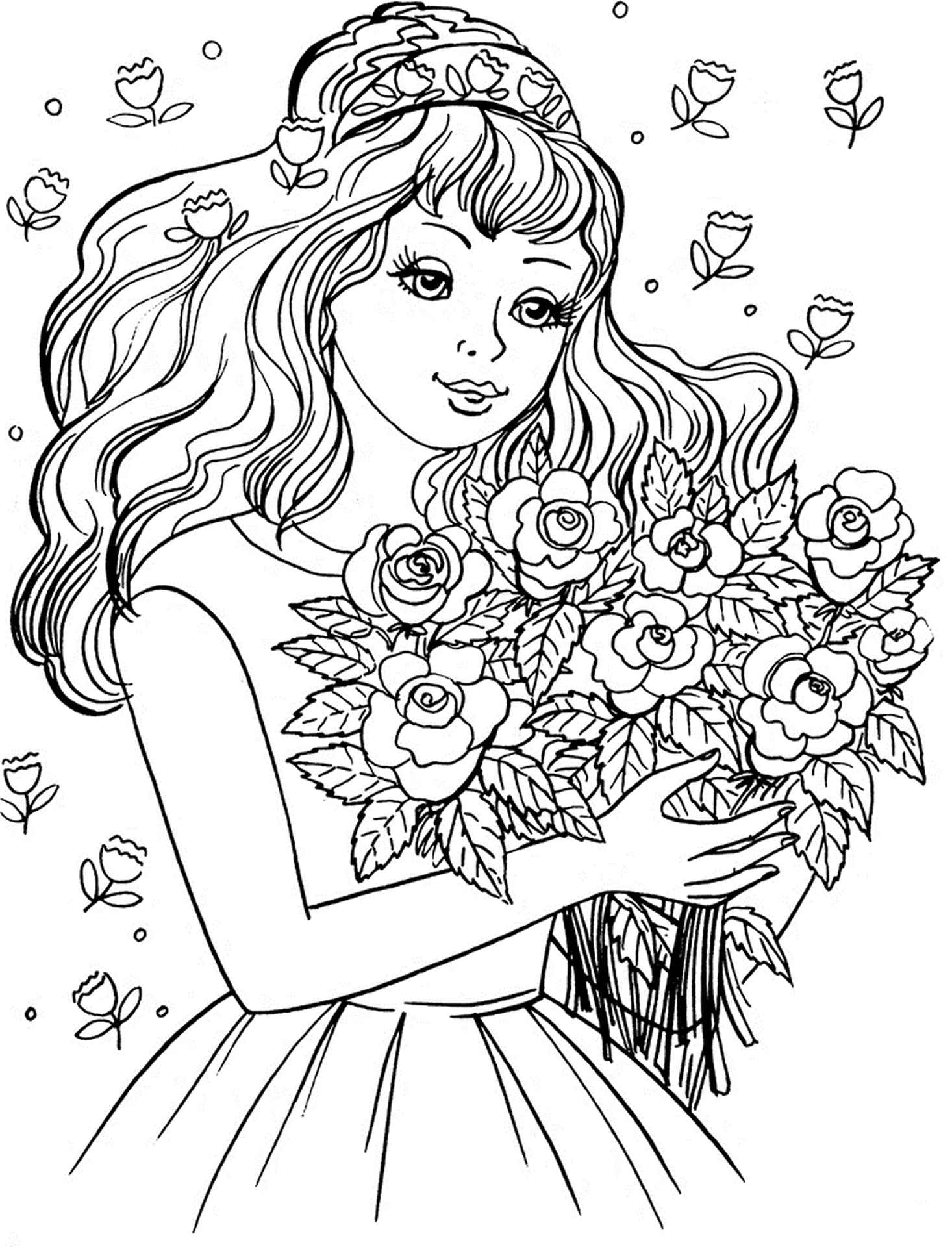 A Girl With Flowers Coloring Page