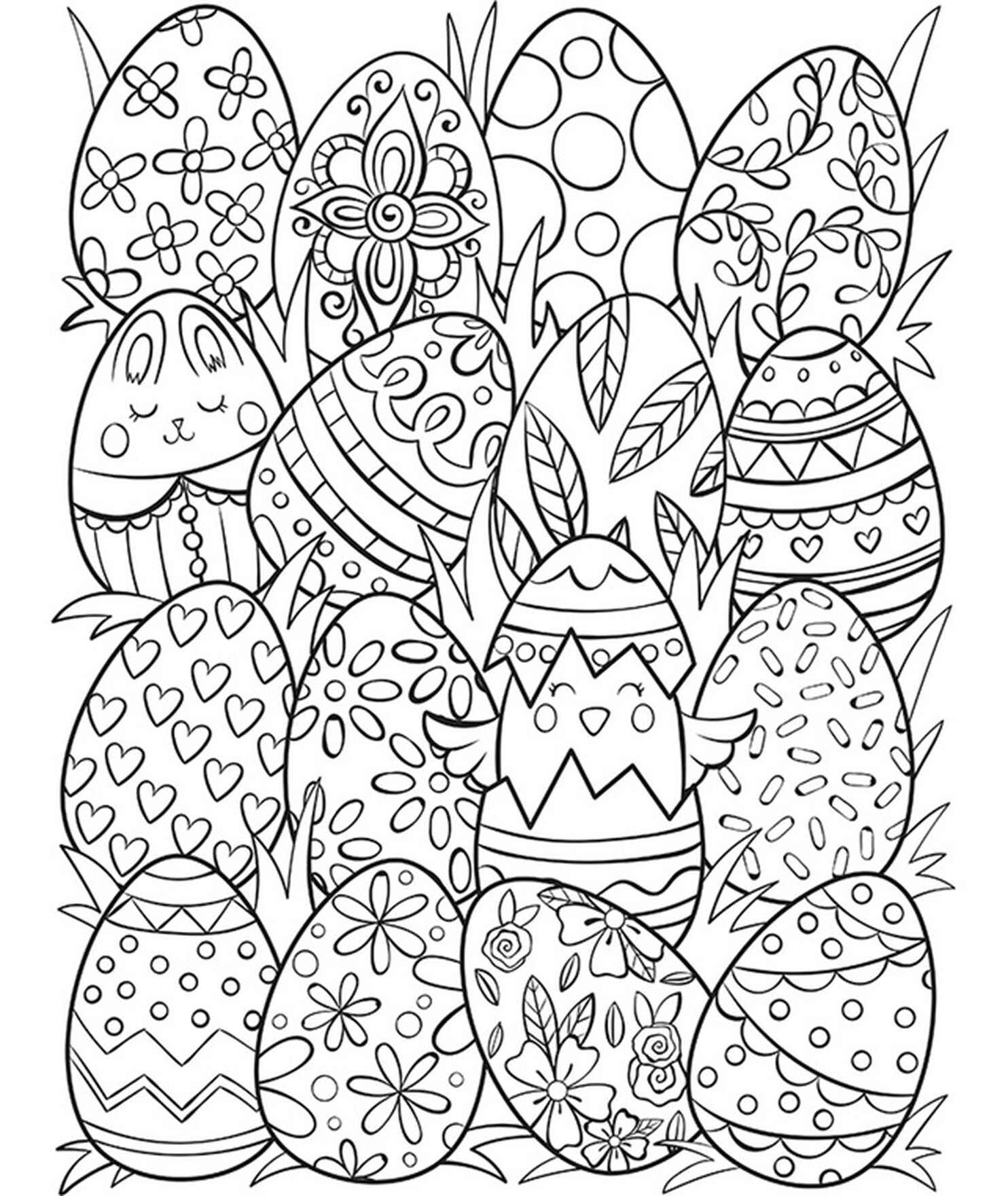 A Lot Of Easter Eggs Coloring Page