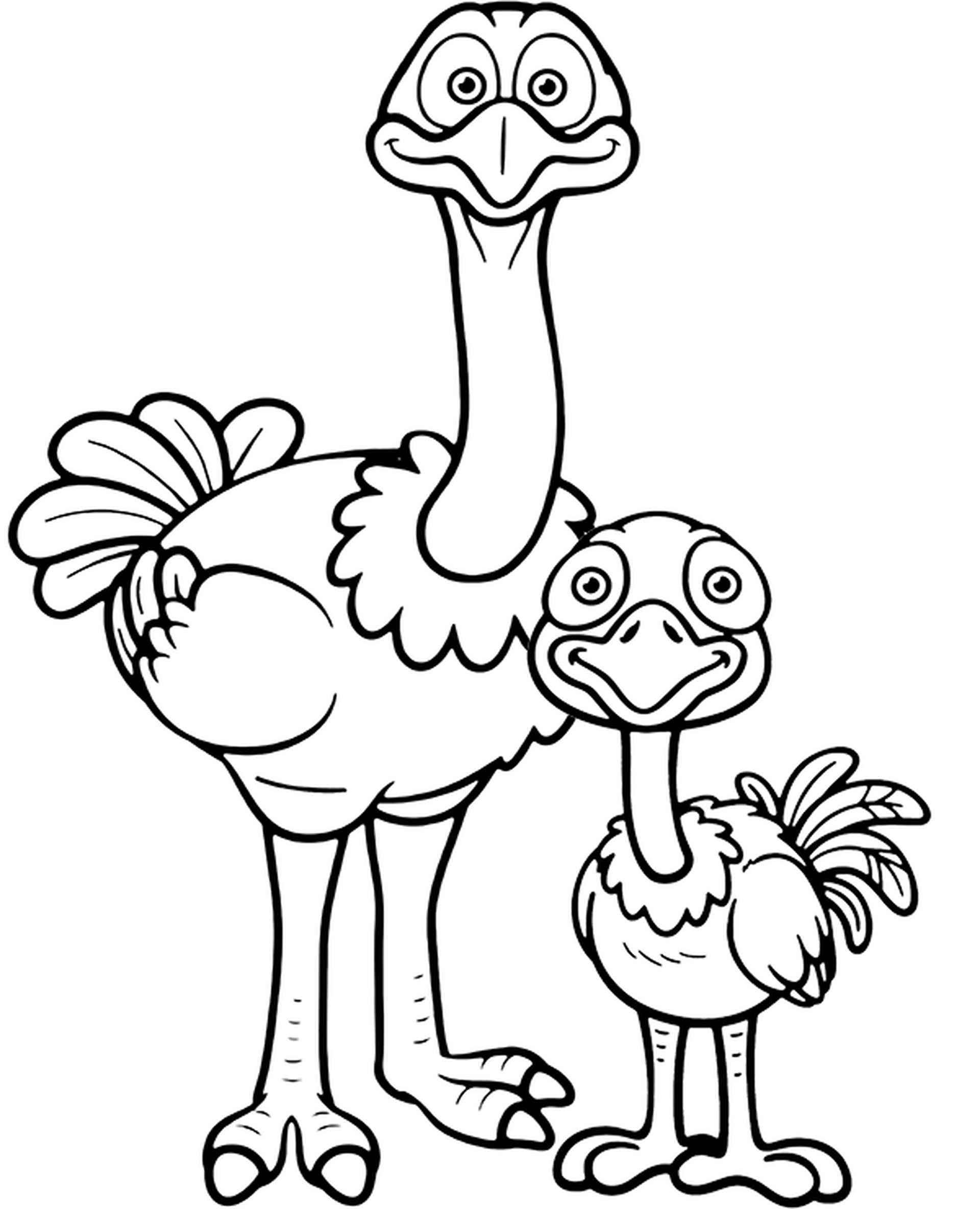 Adult Ostrich With A Young One Coloring Page