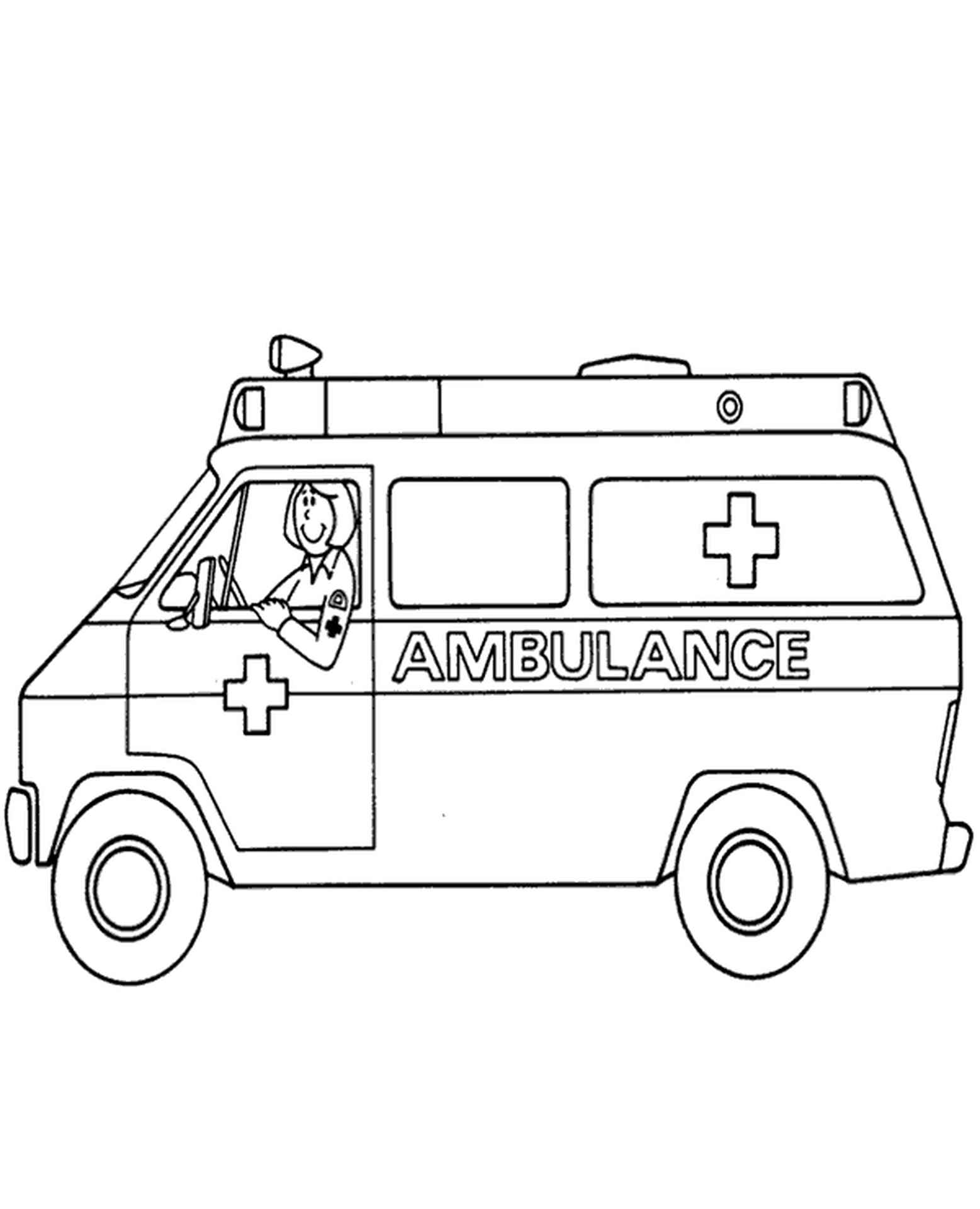 Ambulance With Driver Coloring Page