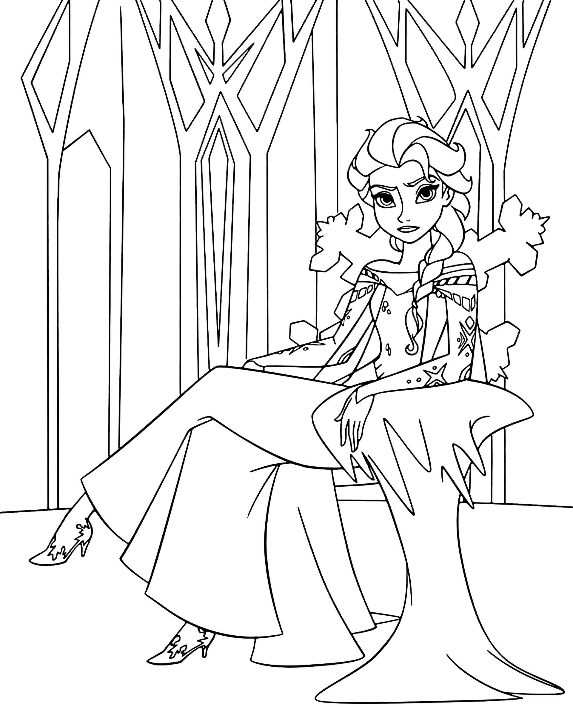 Angry Elsa Coloring Page