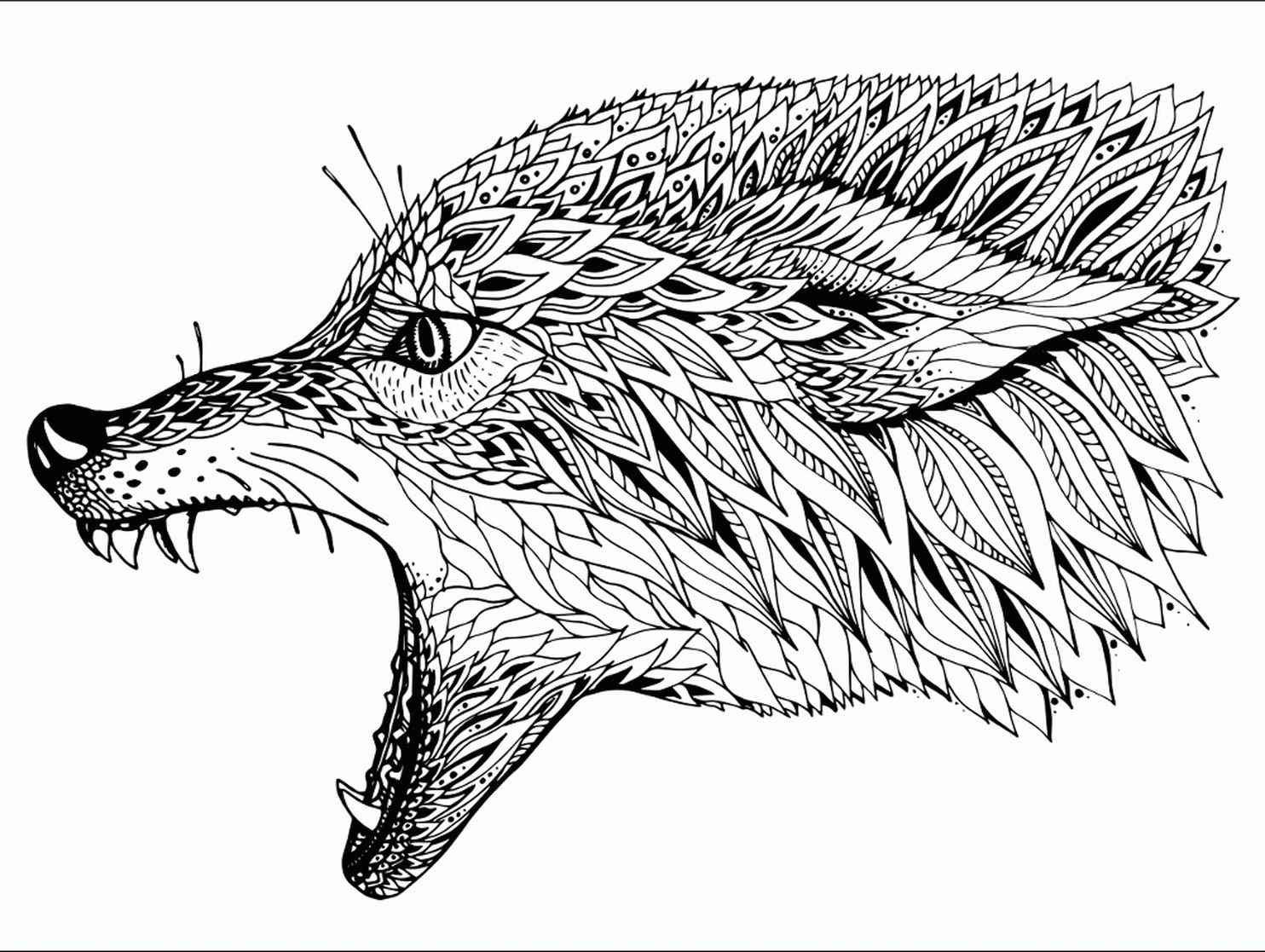 Angry Wolf Coloring Page
