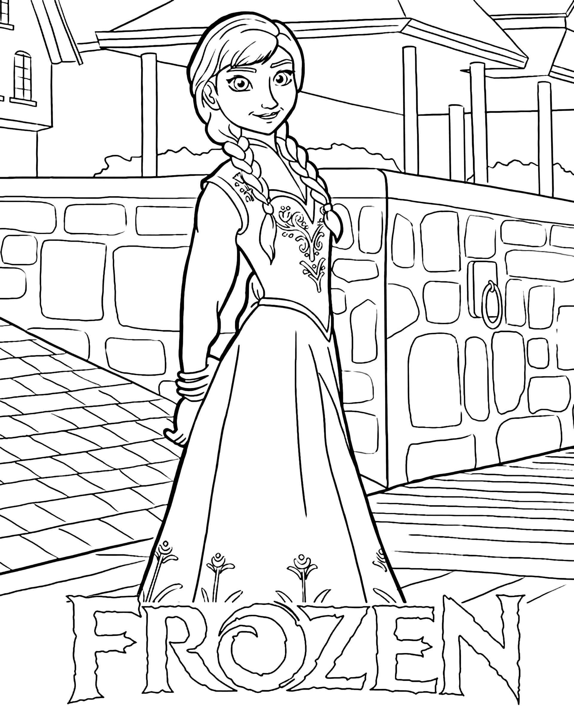 Anna From Frozen Coloring Page