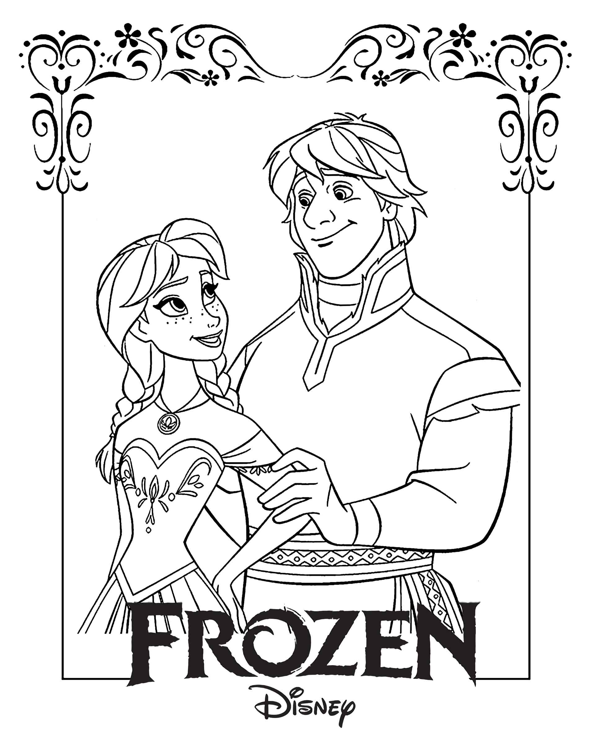 Anna With Kristoff Coloring Page