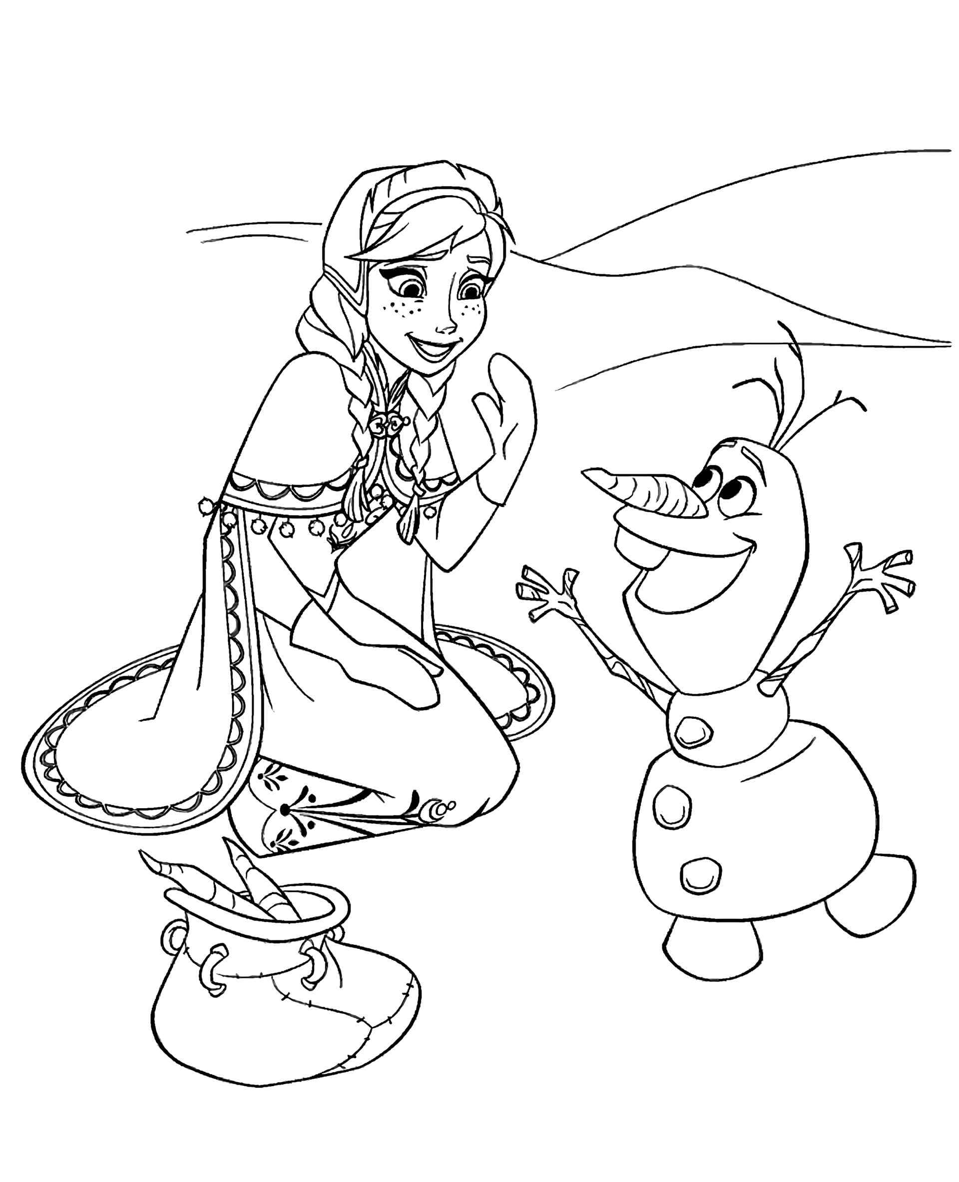 Anna With Olaf Coloring Sheet