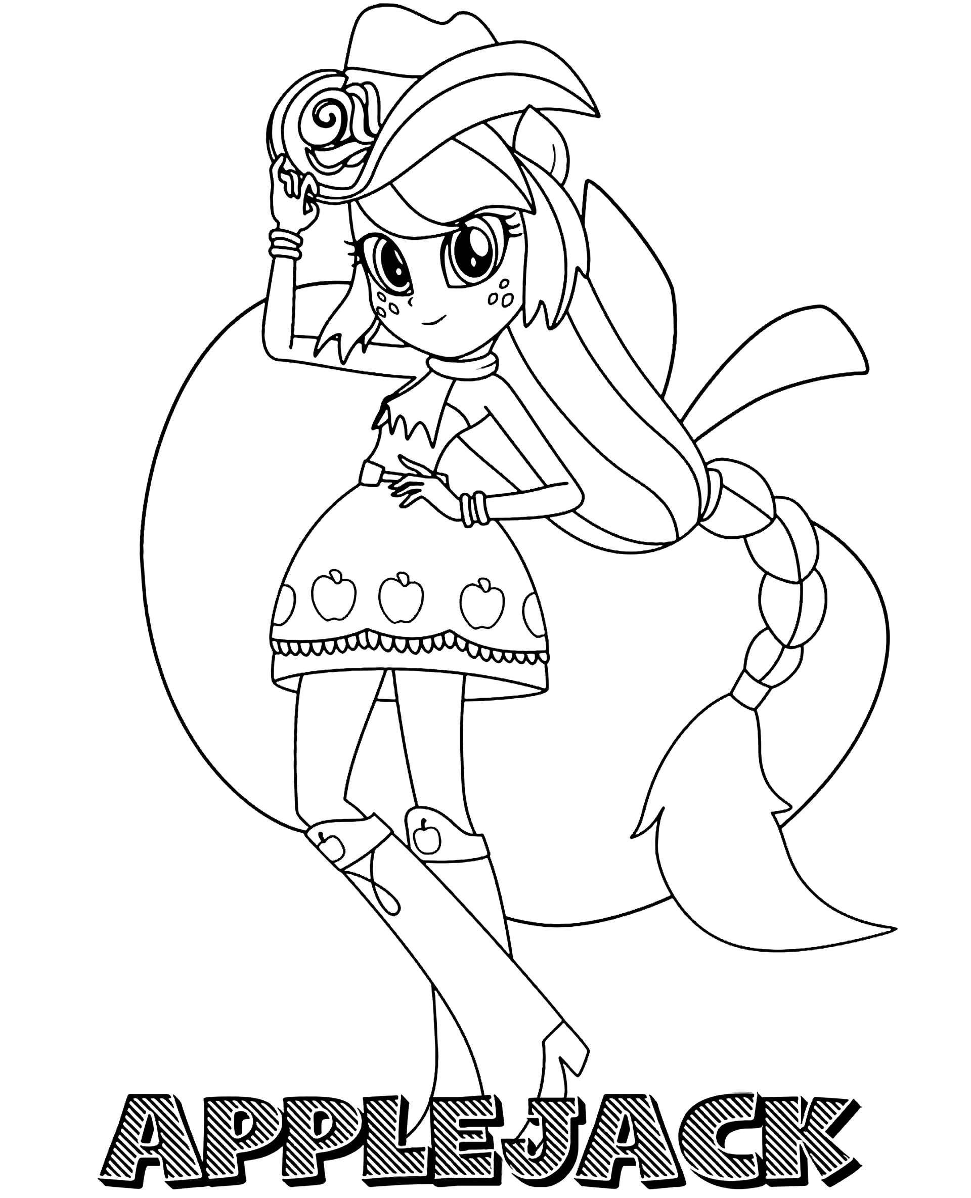 Applejack Girl In A Cowboy Outfit With A Name Coloring Pages