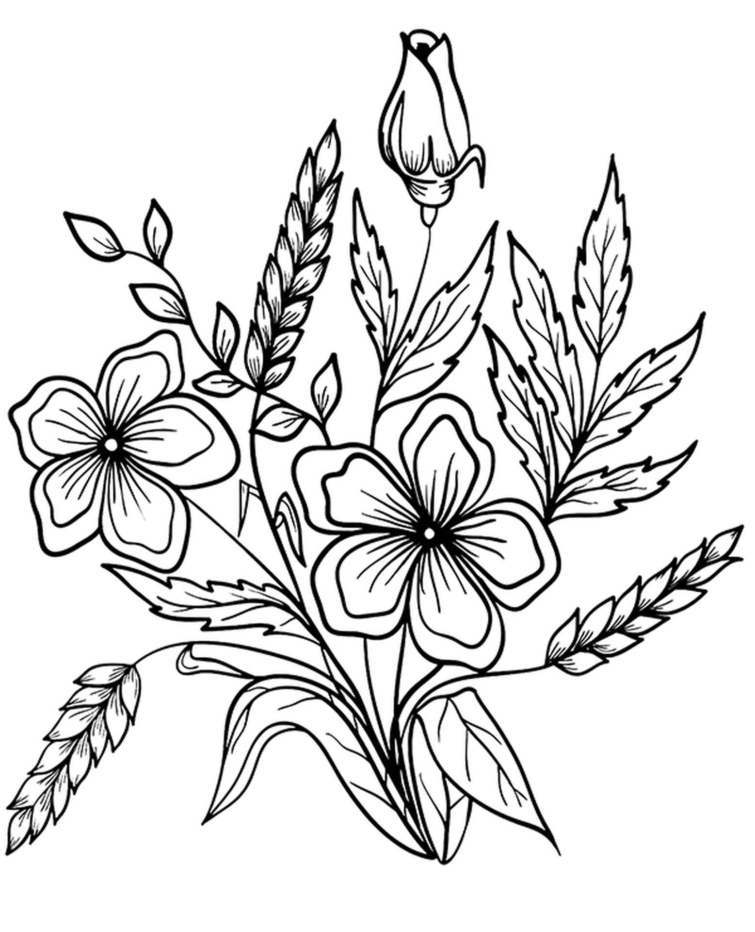 Autumn Flowers With Ears Of Hay Coloring Sheet