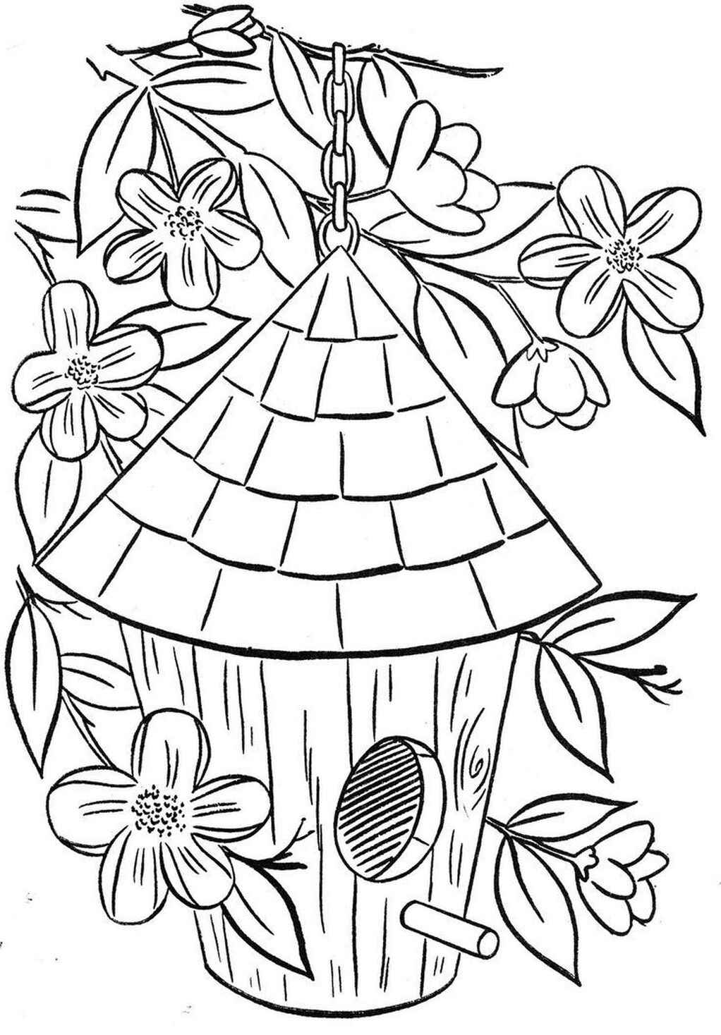 Awesome Coloring Page Of Birdhouse