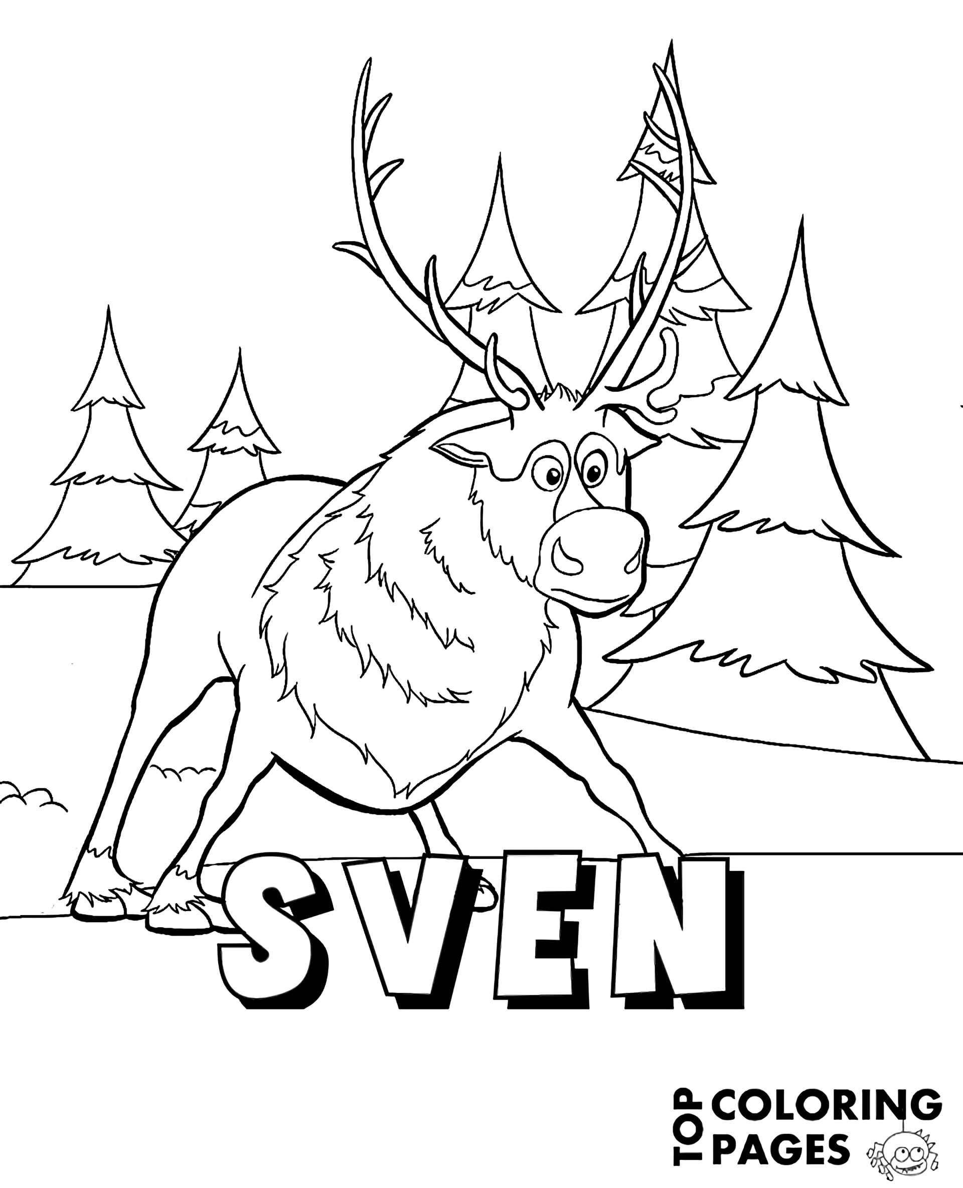 Baffled Sven Frozen Coloring Page