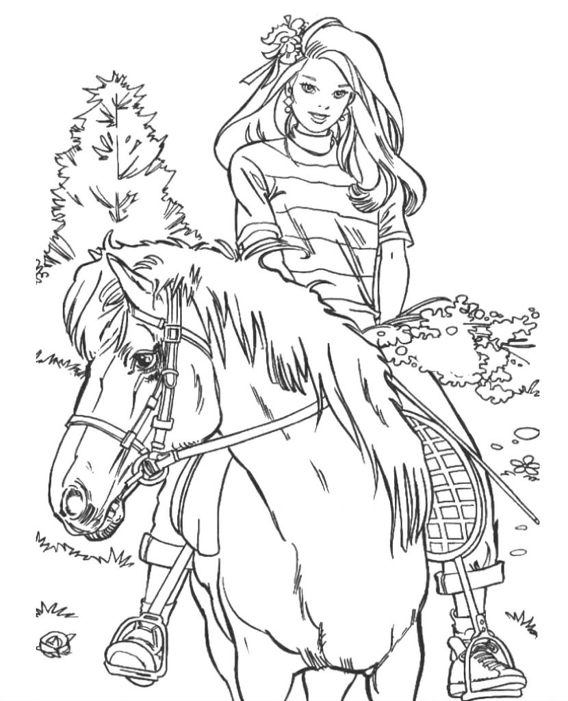 Barbie Riding A Horse Walking Through The Woods