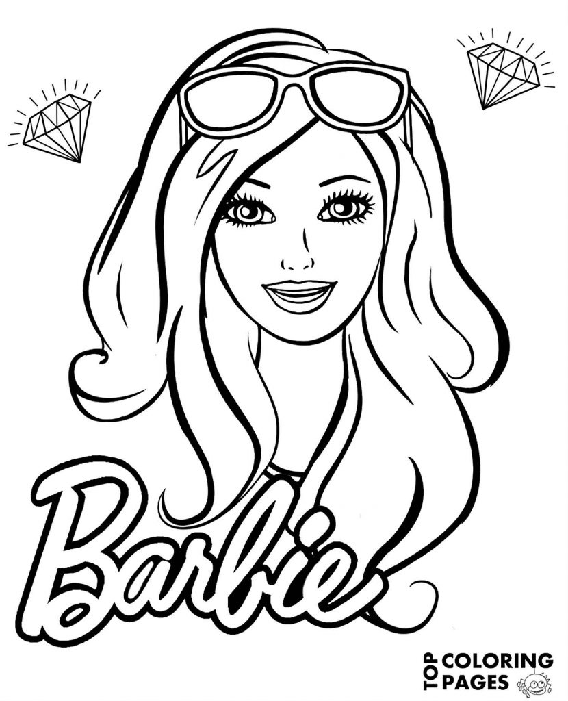 Barbie With Glasses Surrounded By Diamonds With Logo