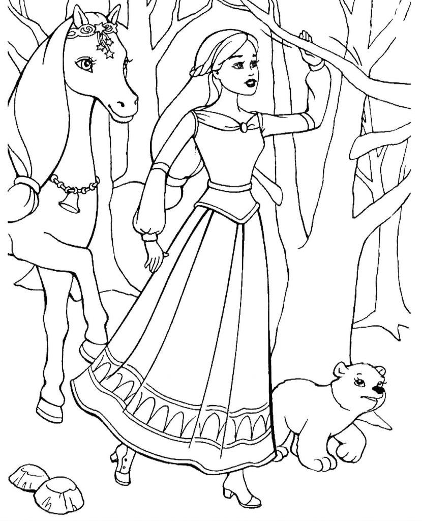 Barbie With Her Horse And A Little Bear Lost In The Woods