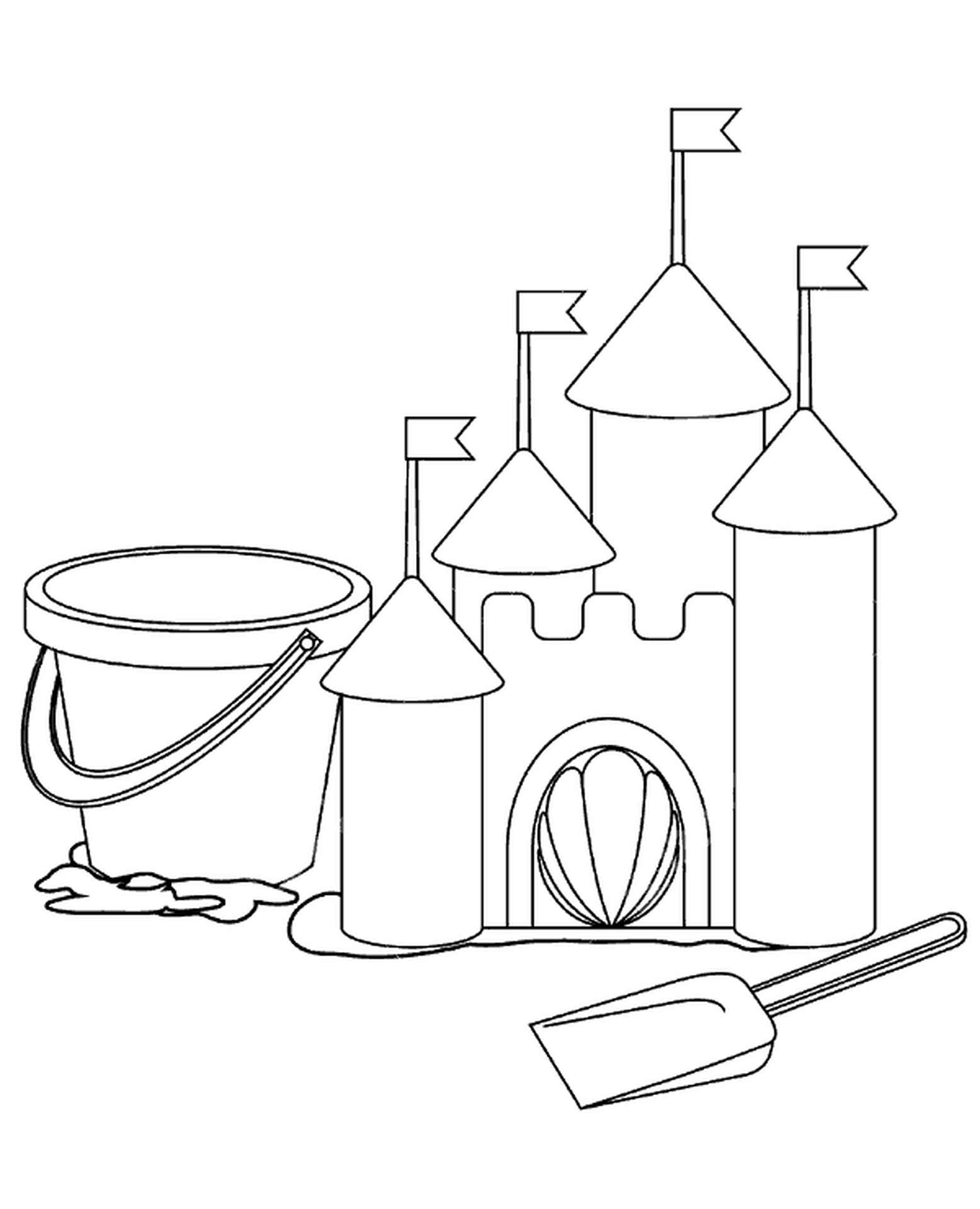 Basic Coloring Page Sand Castle