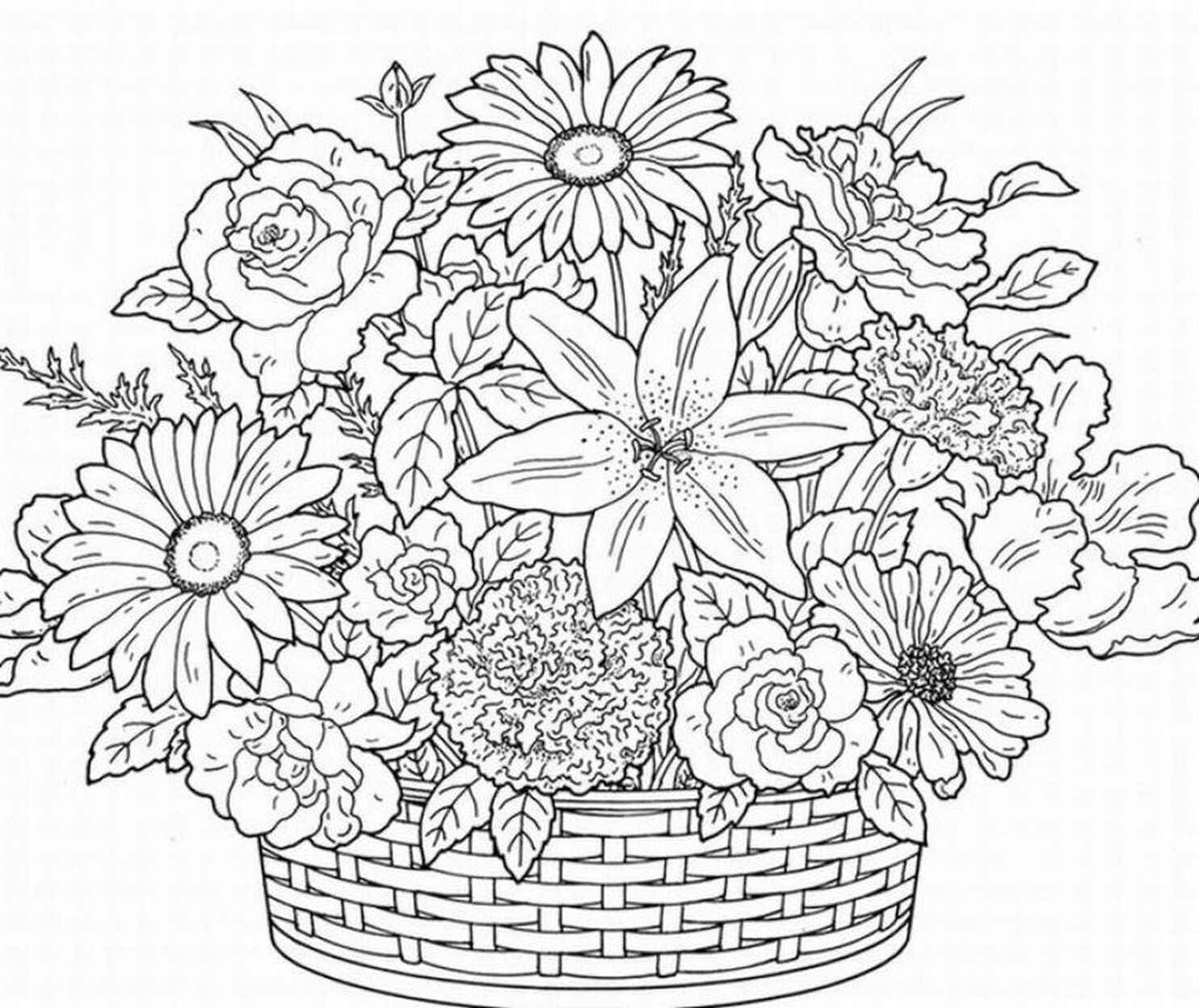 Basket With Flowers To Color