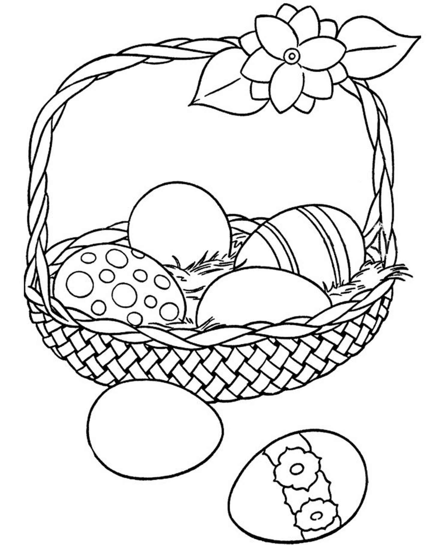 Basket With The Easter Eggs Coloring Book