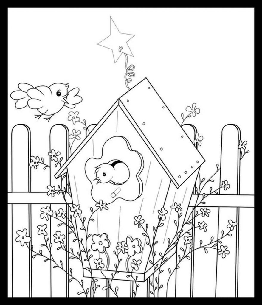 Beautiful Birdhouse Coloring Sheet