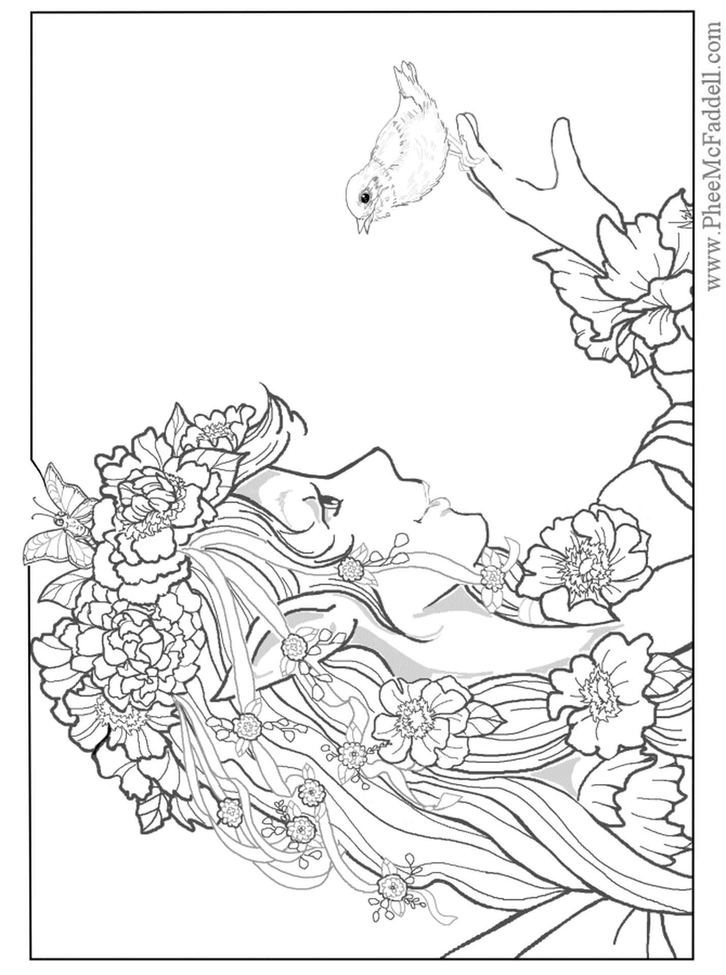 Beautiful Elf With A Bird Coloring Page For Adults