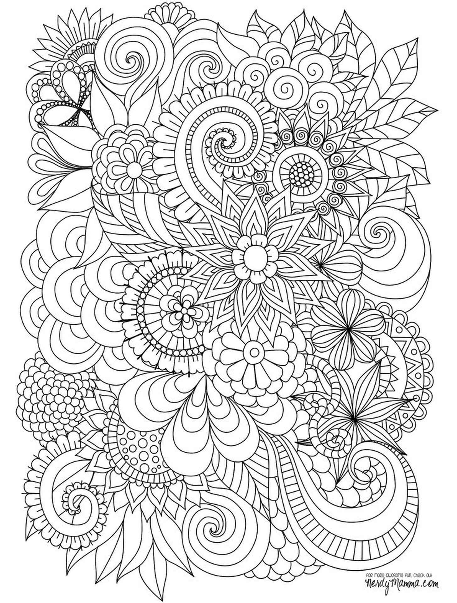 Beautiful Flowers Coloring Page For Adults