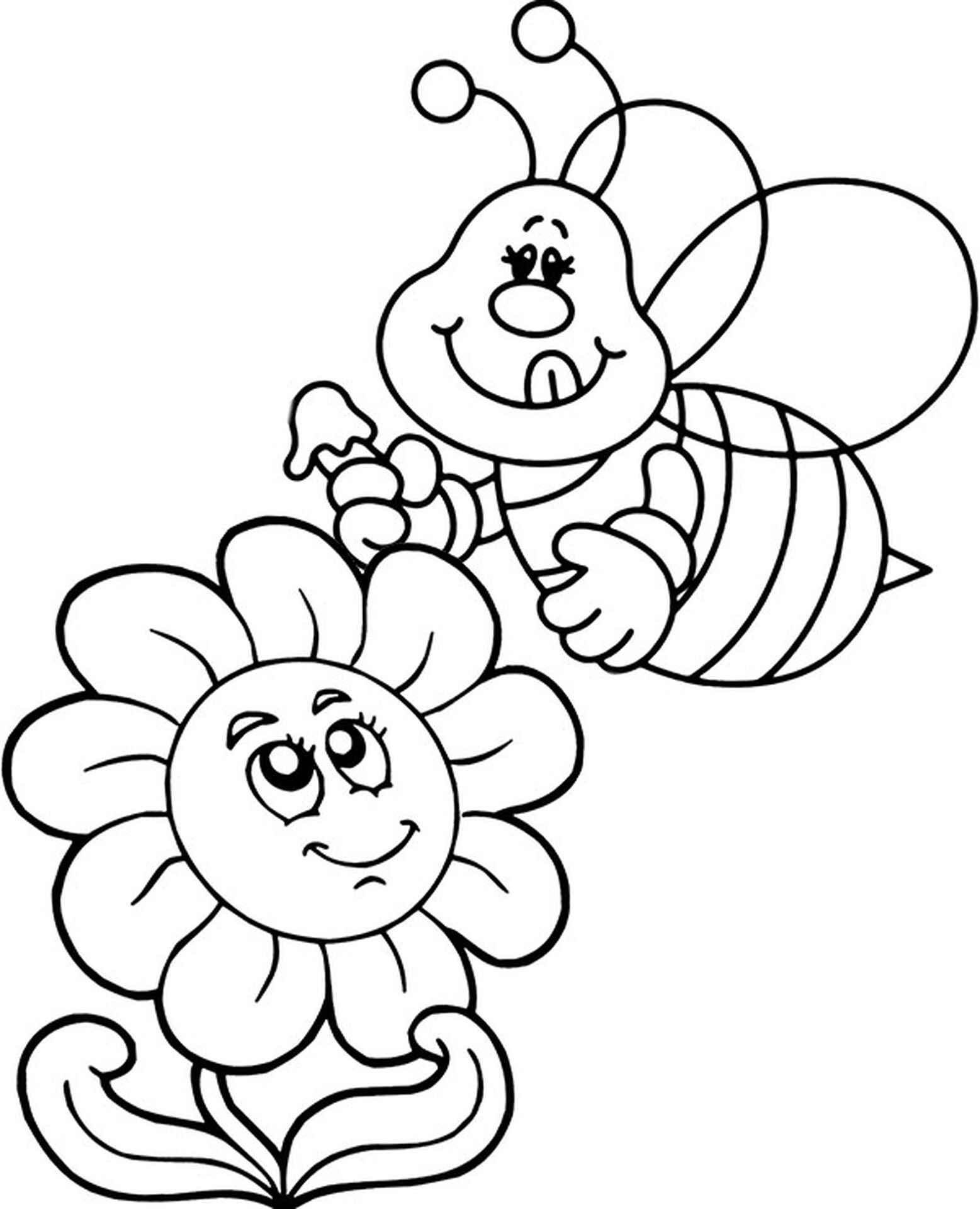 Bee And Flower Coloring Sheet