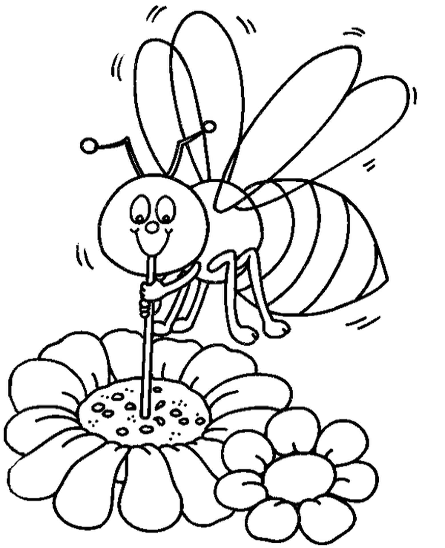 Bee Polutting Flower Coloring Page