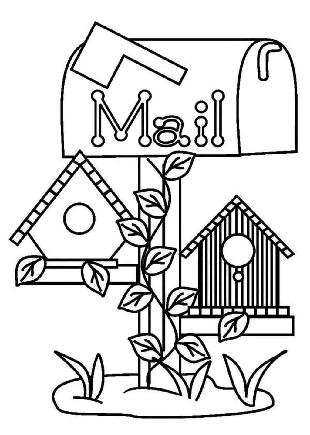 Birdhouse Under Mail Box Coloring Sheet