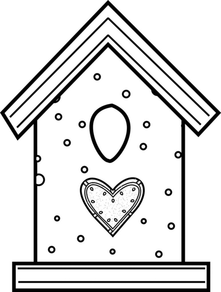 Birdhouse With A Heart Coloring Page