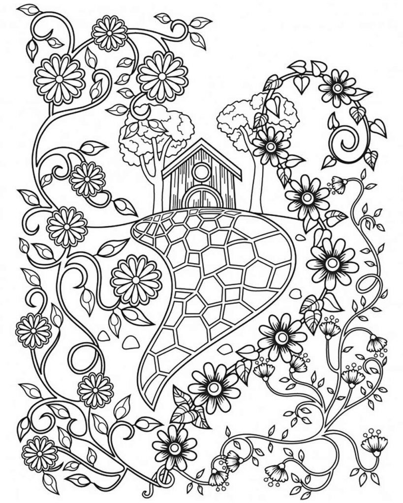 Birdhouse With Abstract Flowers Coloring Page