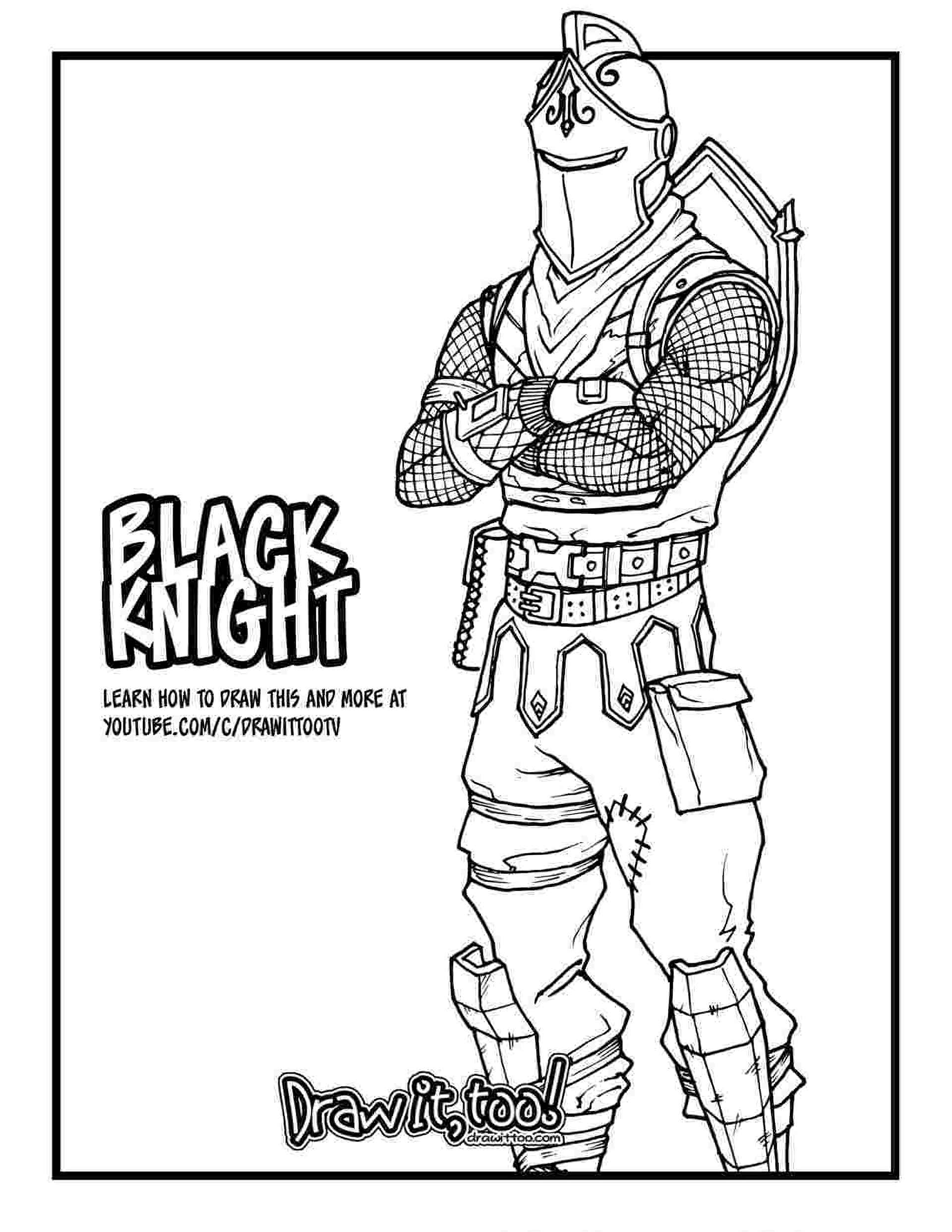 Black Knight Skin From The Game Fortnite Coloring Page