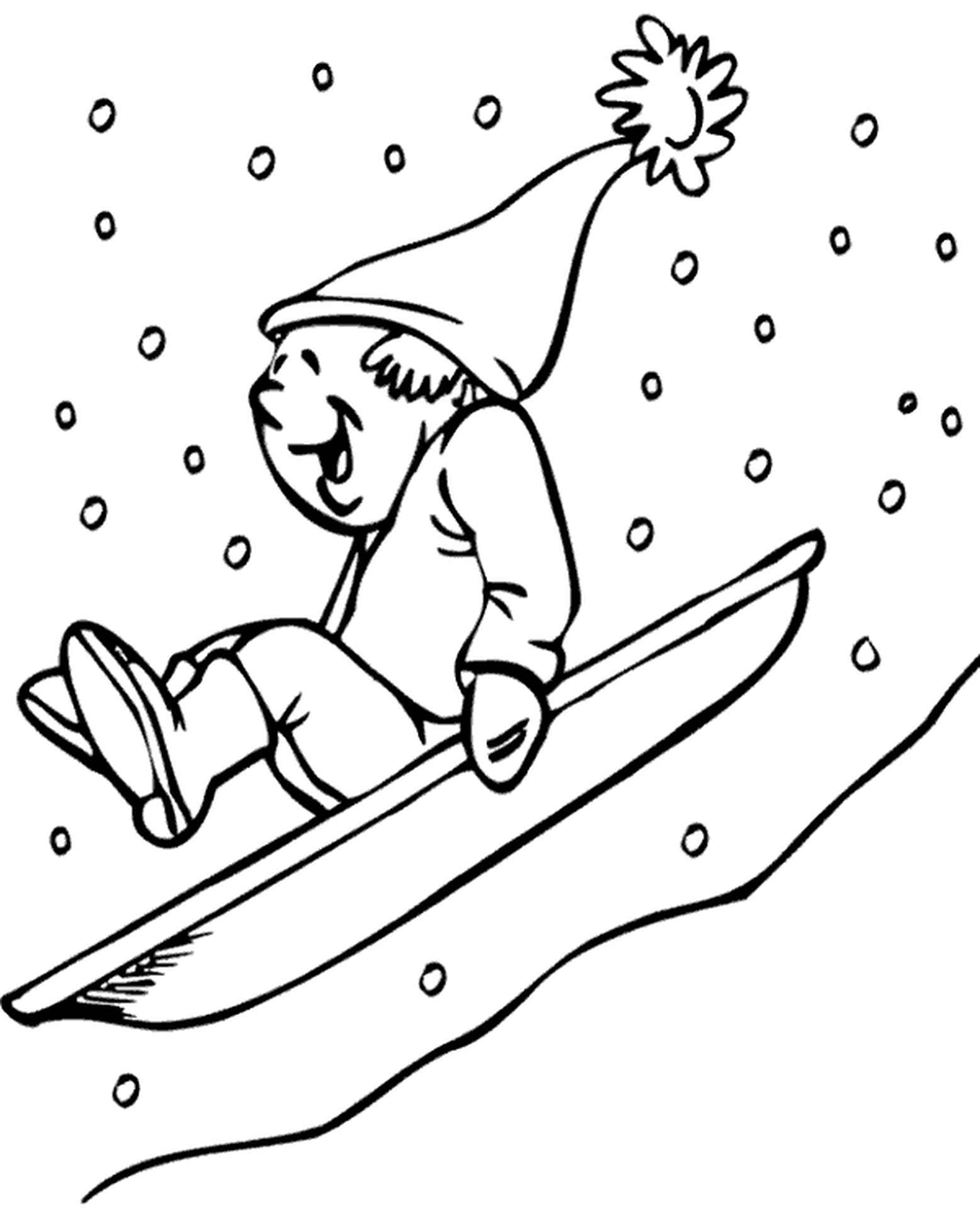 Boy On Sledge Coloring Picture