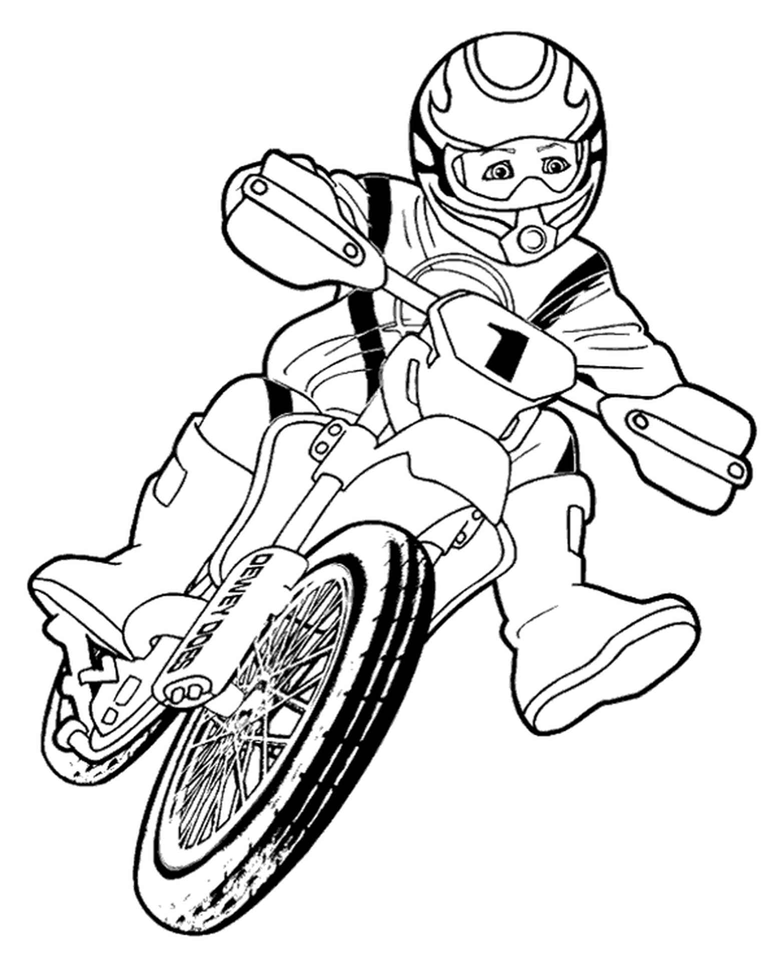 Boy Riding A Motorbike Coloring Page