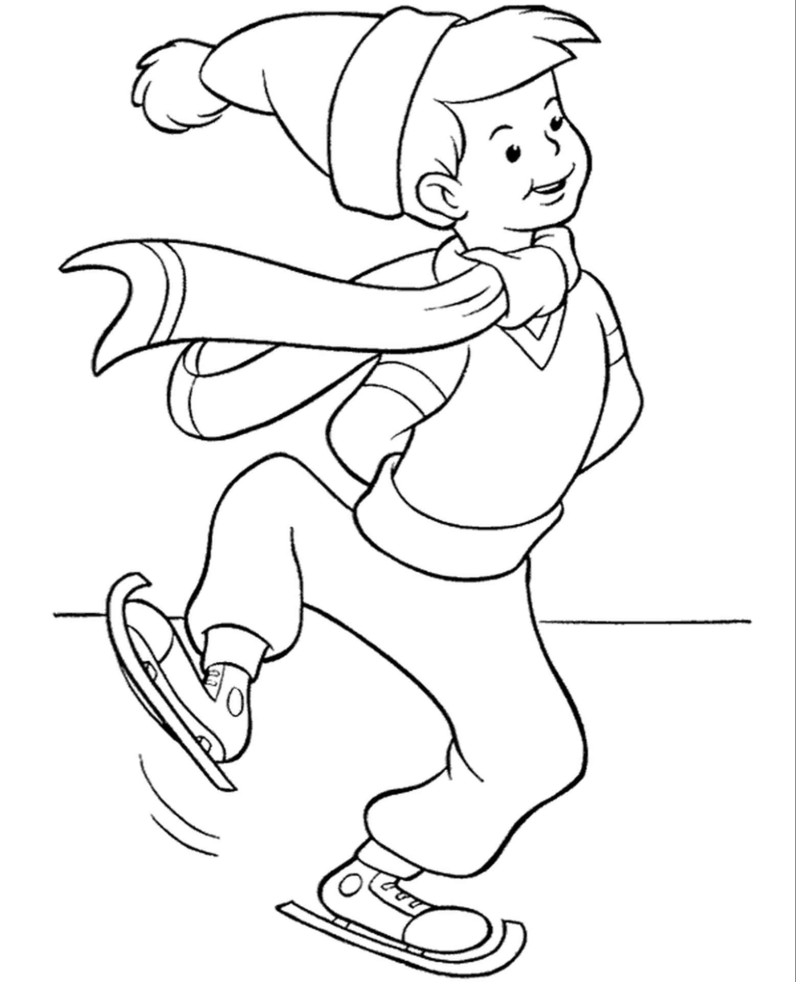 Boy Skating On Ice Coloring Page