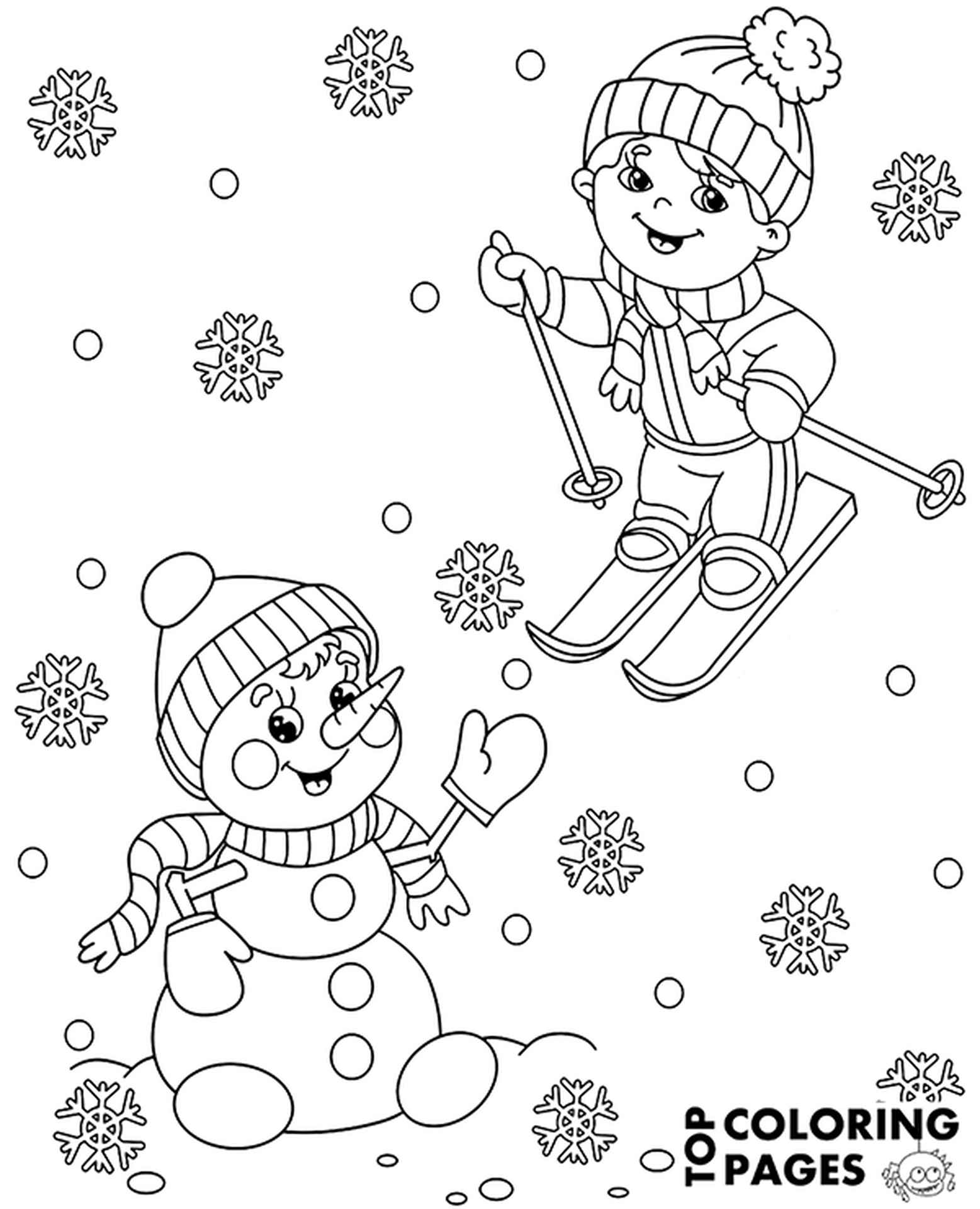 Boy Skiing Coloring Page