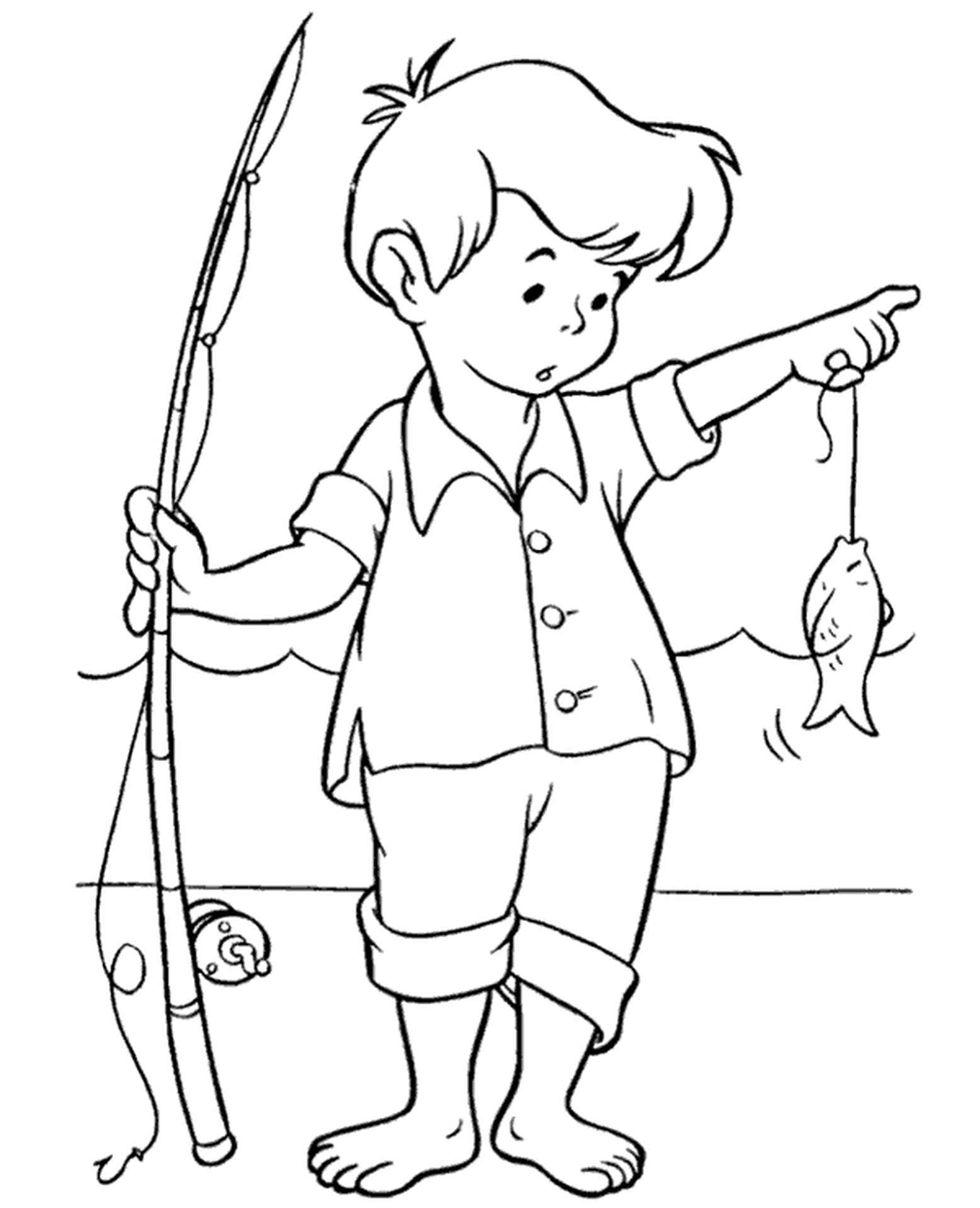 Boy With A Fish Coloring Sheet