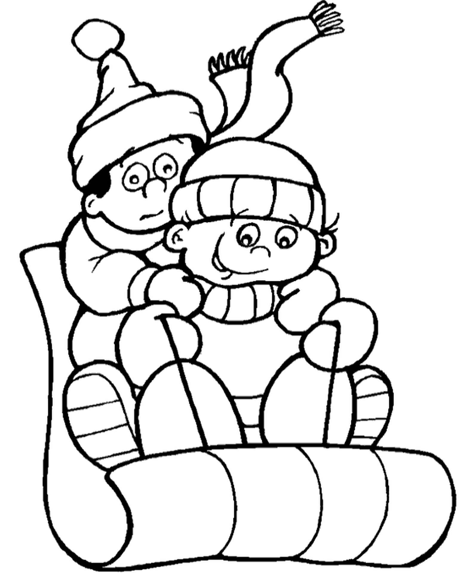 Boys Sledging Coloring Book For Kids