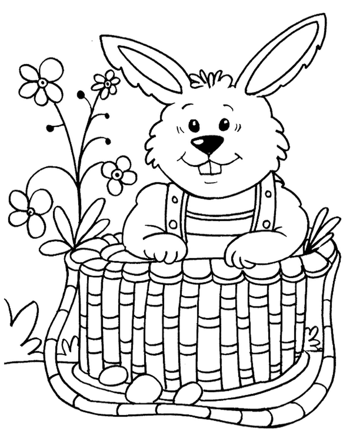 Bulky Easter Bunny Sitting In The Basket Coloring Sheet