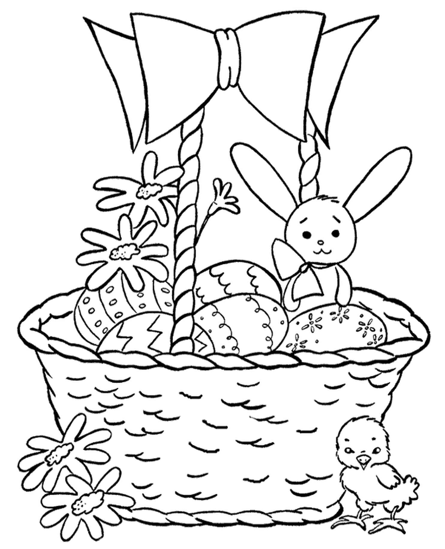 Bunny And Chicken Easter Eggs Basket