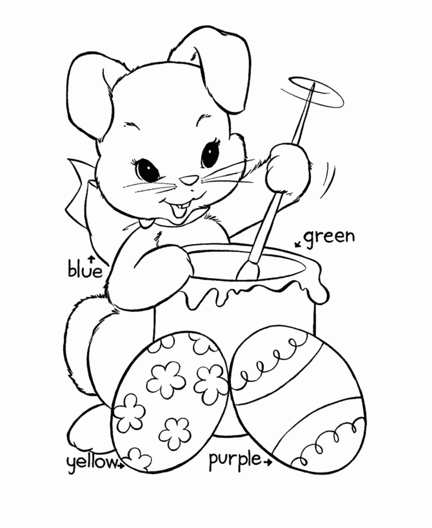 Bunny Preparing To Color Easter Eggs Coloring Sheet