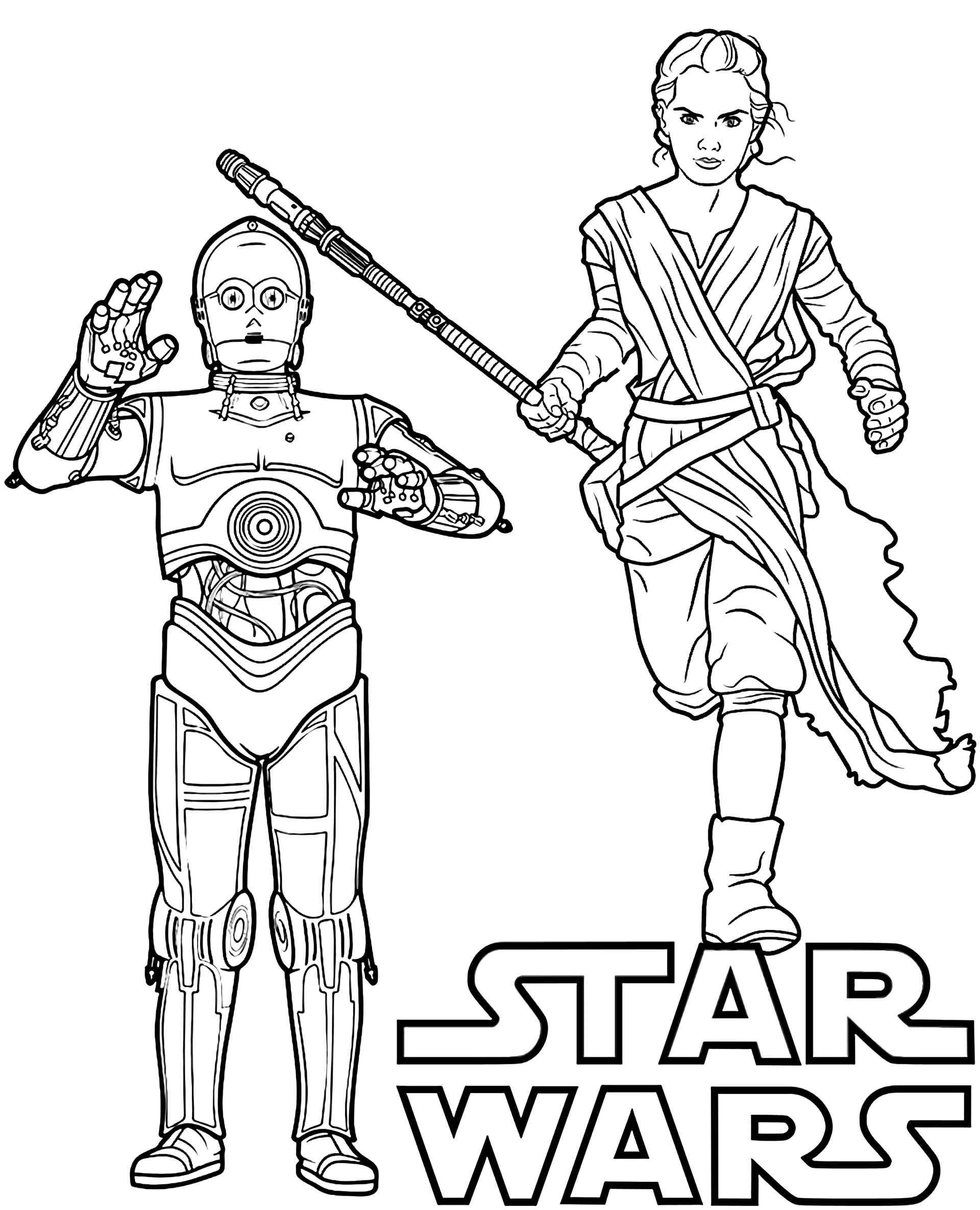 C-3po And Rey From Star Wars With Logo Coloring Page
