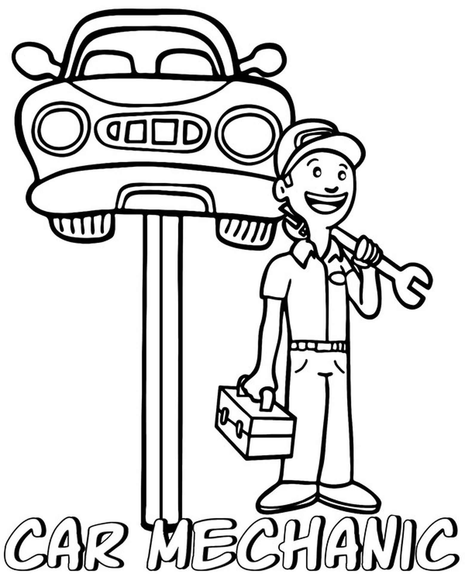 Car Mechanic Coloring Page