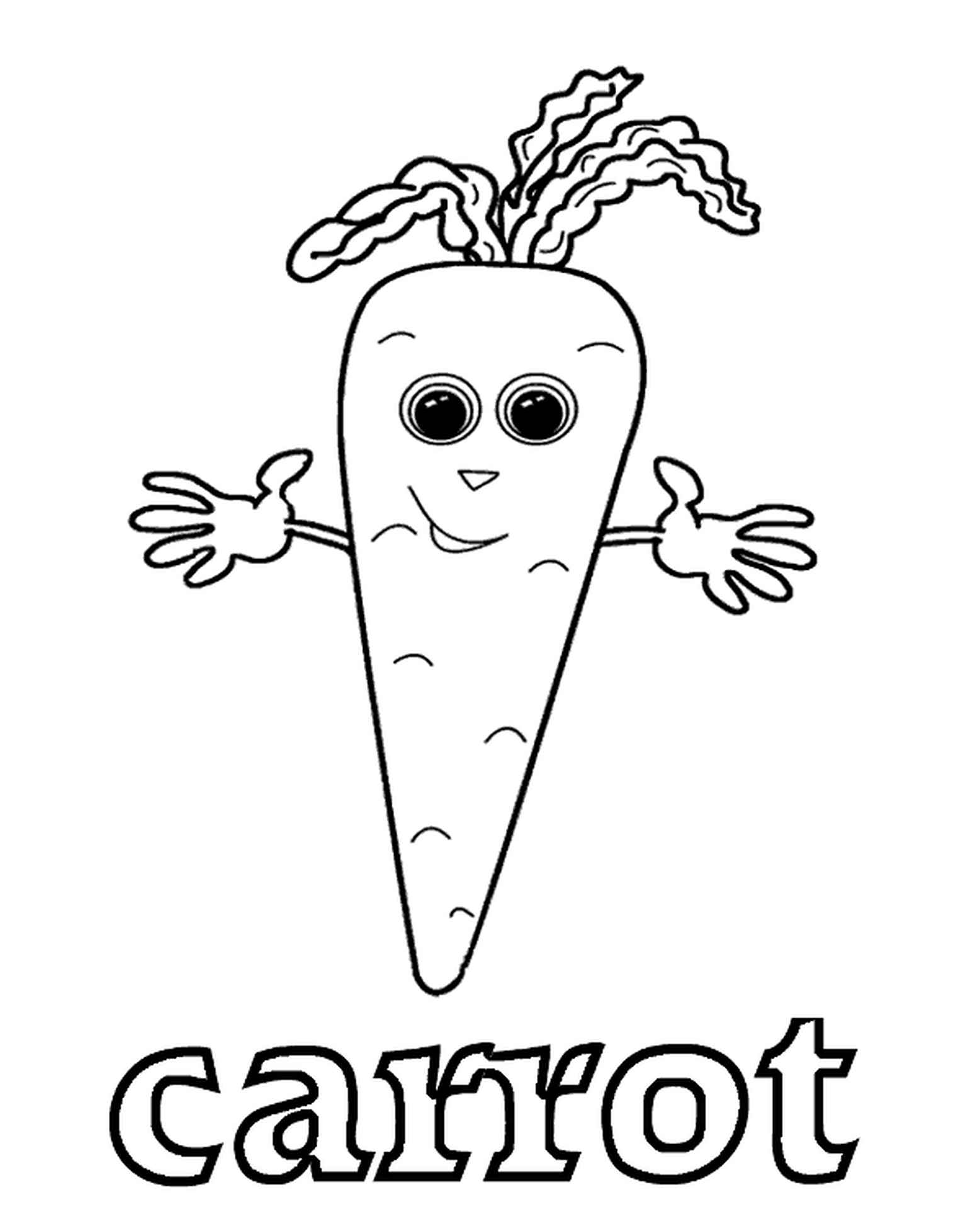 Carrot Trying To Hug You Coloring Page