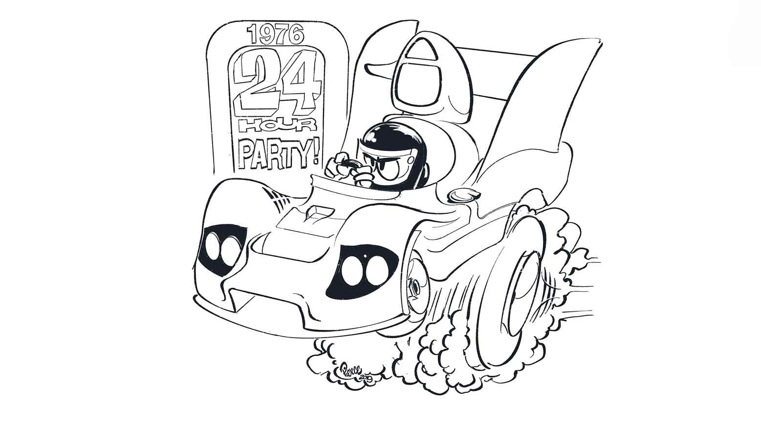 Cartoonish Racer Coloring Page