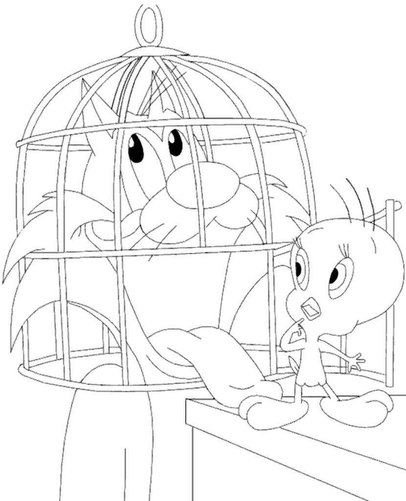 Cat Sylvester Trying To Trick Tweety Coloring Page