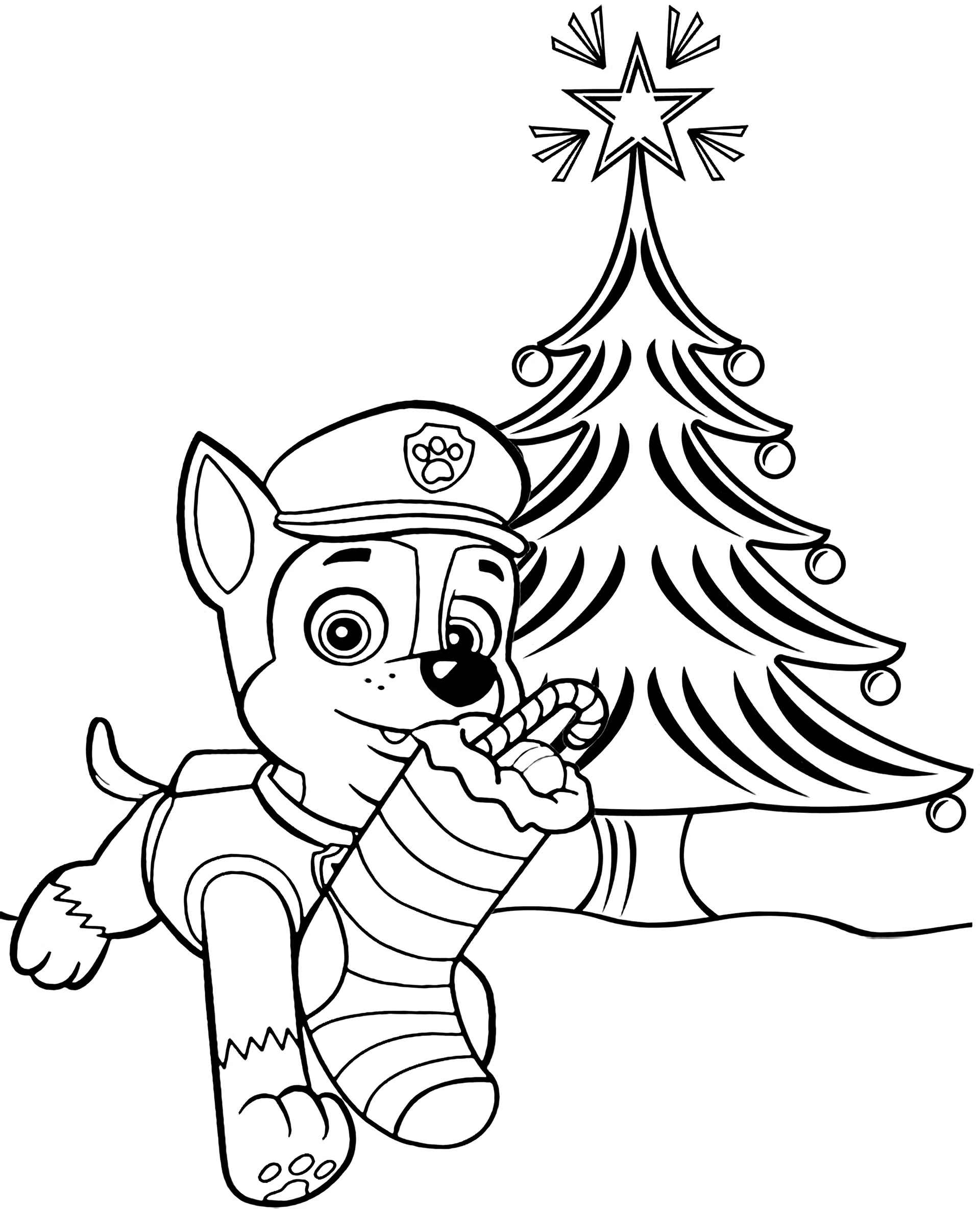 Chase From Paw Patrol And Christmas Coloring Sheets