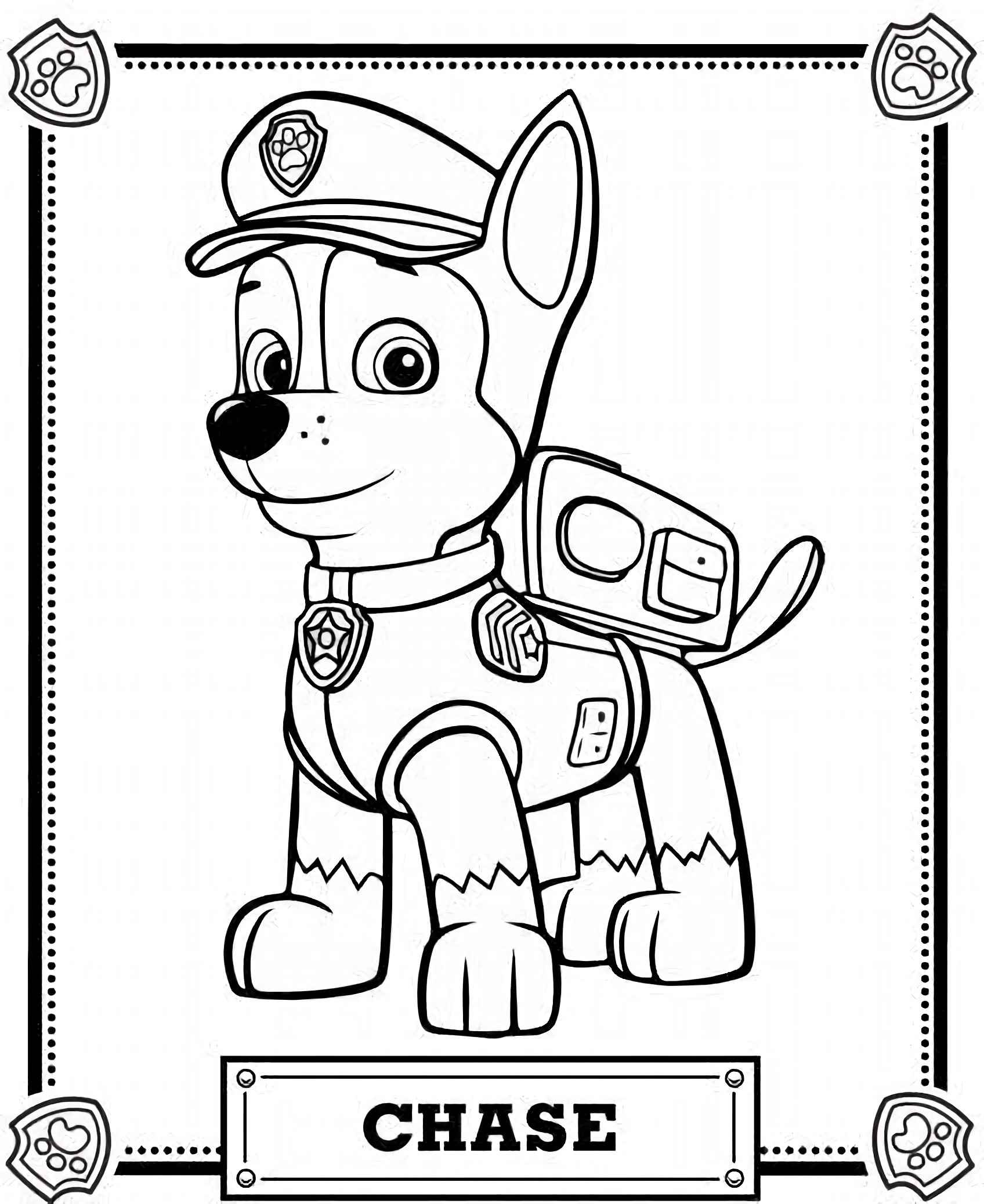 Chase From Paw Patrol Coloring Page