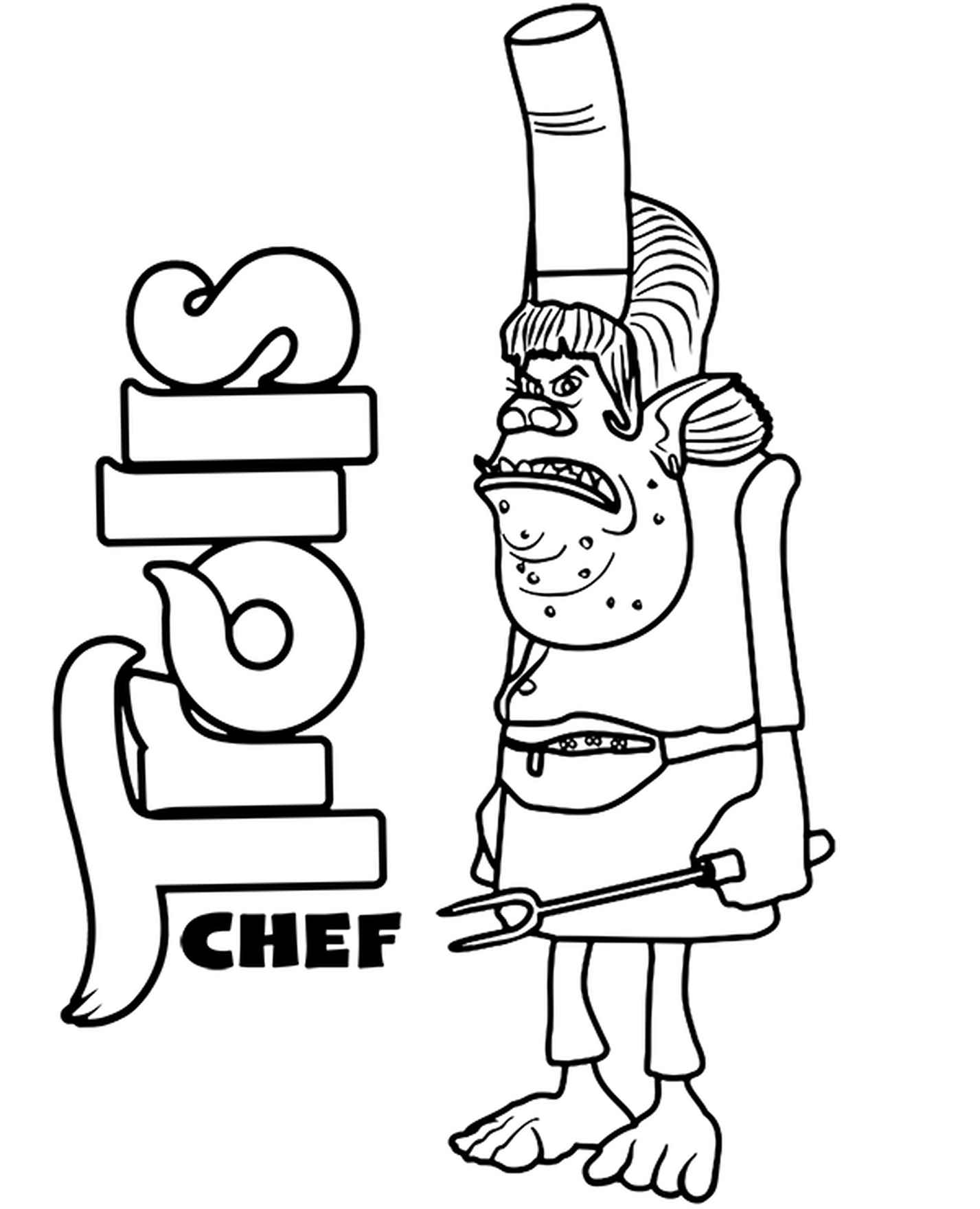 Chef Coloring Page Trolls