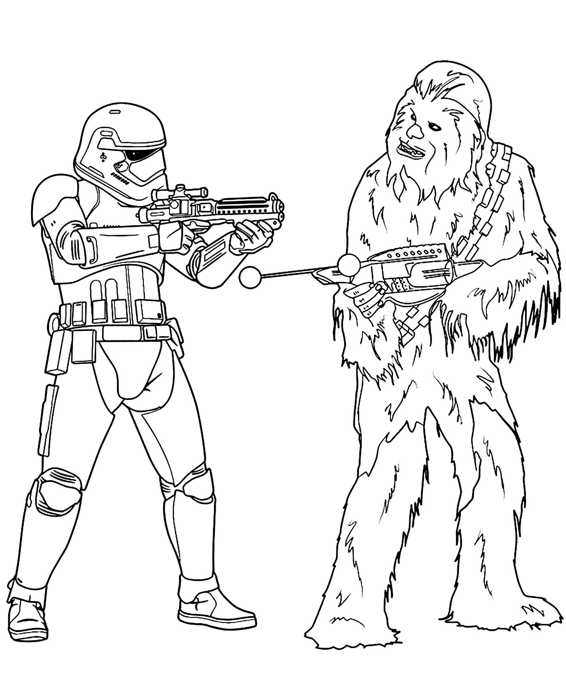 Chewbacca Vs. Storm Trooper In Star Wars Coloring Page