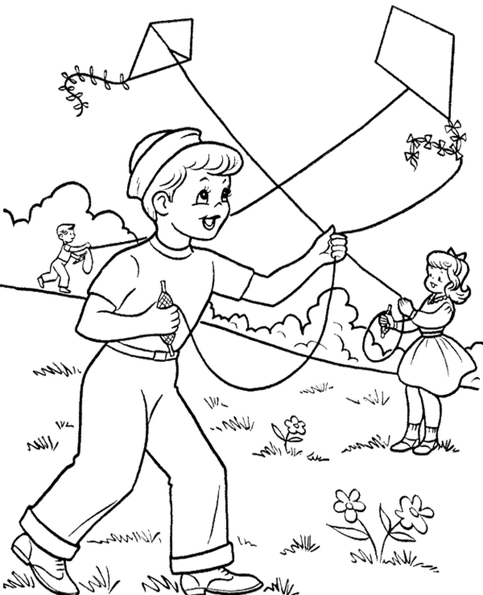 Childre Flying Kites Coloring Page