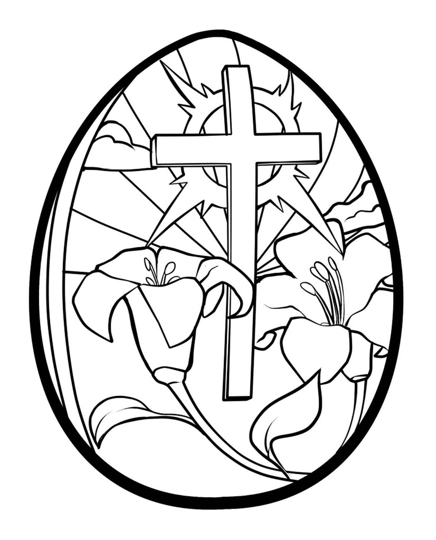 Christian Easter Egg Coloring Page