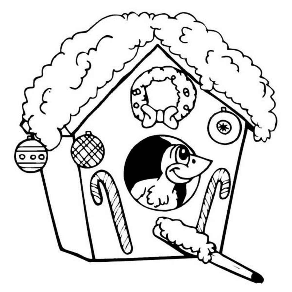 Christmas Themed Birdhouse Coloring Page